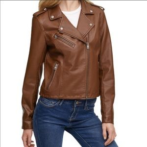Levi's faux leather brown moto bicycle jacket
